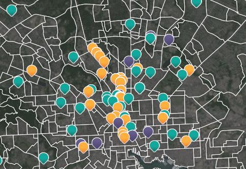 A screenshot from the Baltimore Art and Justice Project maps artists in Baltimore.